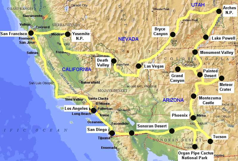 Map Of California Utah Nevada Colorado New Mexico And