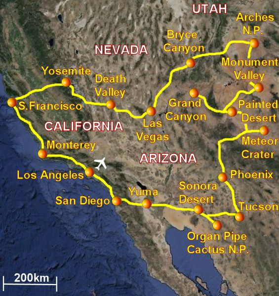 Travel to USA West Coast in California, Arizona, Utah and Nevada ...